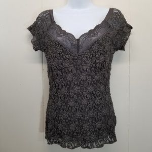 CAbi M Shirt Top V Neck Gray Lacy Floral 829